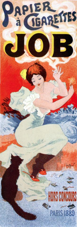 Vintage POSTER.Stylish Graphics.French cigarette Ad Decorative Art.1865