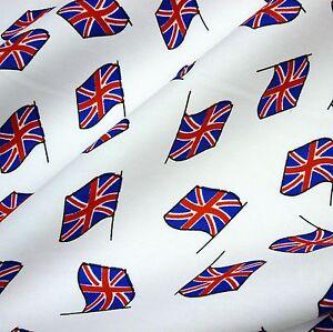 White-100-Cotton-w-Small-Union-Jack-Flags-Per-Metre