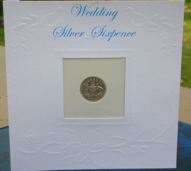 Wedding Sixpence (Silver), Special Father's Gift to Bride & Personalised Card