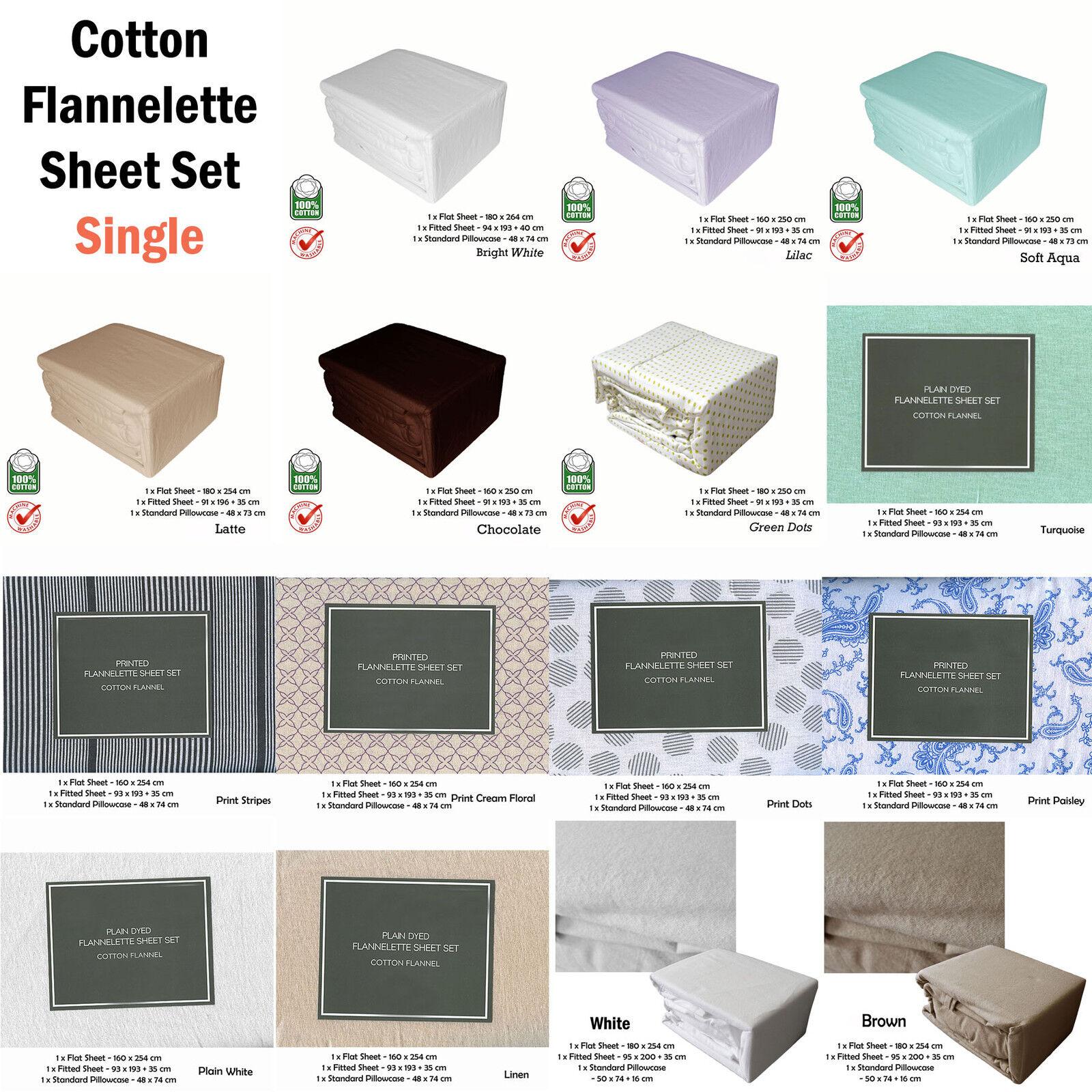 3 Pce WINTER 100% Cotton Flannelette Sheet Set Plain or Printed Choice - SINGLE