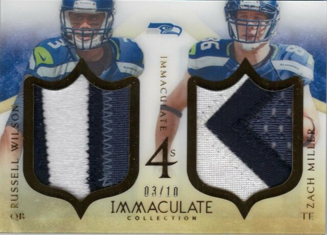 2014 Panini Immaculate Quad Patch Russell Wilson Marshawn Lynch 3/10 Seahawks