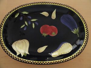 Laurie-Gates-Olives-Garlic-Eggplant-Tomatoes-Checked-Rim-Large-Black-Oval-Bowl