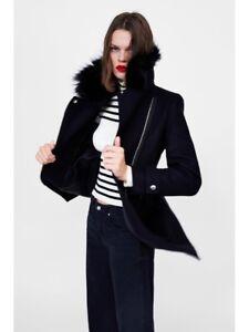 14 in taglia biker a pelliccia Uk12 Giacca lana nera sintetica Cappotto contrasto lana Zara in misto di L TW6RnP6