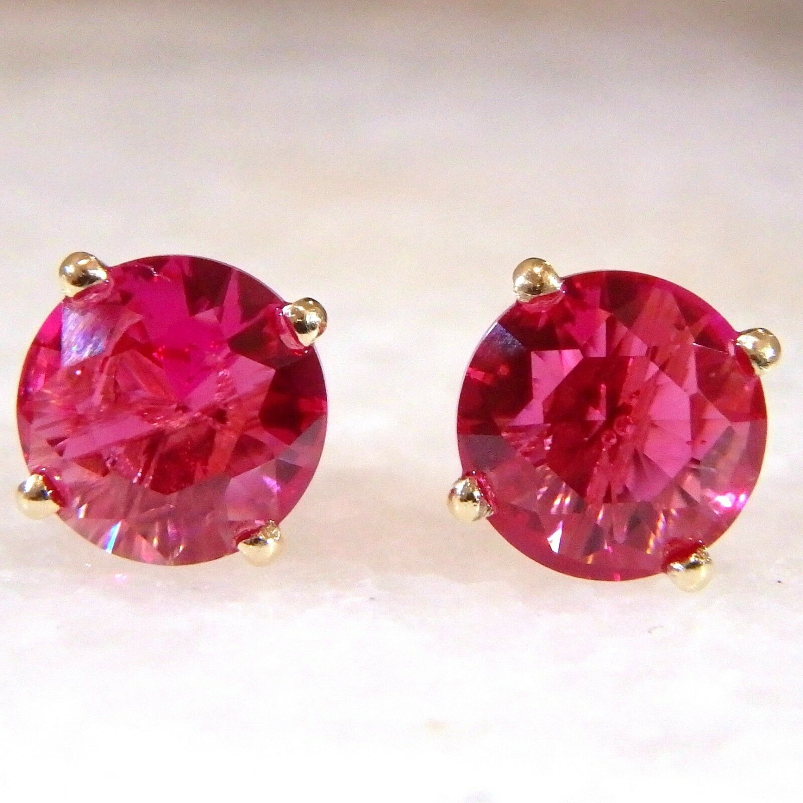 14K 14ct Yellow gold Lab Ruby Stud Earrings Round Cut 6 or 8 mm