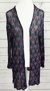 H-amp-M-Divided-Cardigan-Sweater-Womens-Small-S-Black-Pink-Long-Sleeve-Open-Front