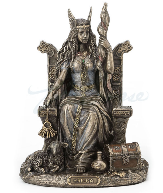 Frigga Norse Goddess Sitting On Throne Figurine Statue Sculpture - HOME DECOR