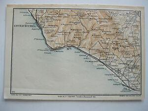 Cartina Italia Civitavecchia.Stampa Antica Mappa Civitavecchia Palo Cerveteri Manziana Tolfa Ladispoli 1930 Ebay