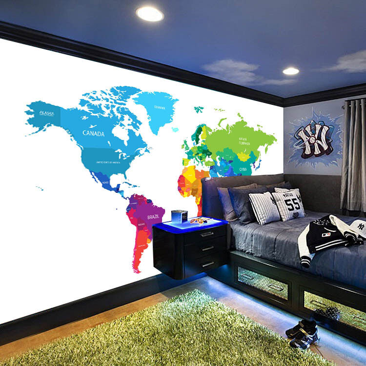 3D 3D 3D Farbe World Map 940 Wall Paper Wall Print Decal Wall Deco Wall Indoor Murals ae6ffd