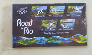 2016-NEW-ZEALAND-ROAD-TO-RIO-OLYMPIC-SET-OF-5-STAMPS-FDC-FIRST-DAY-COVER