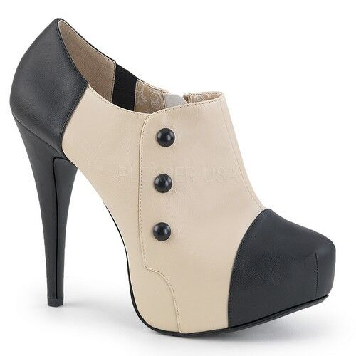 Pleaser Chloe - 11 Mujer Negro Crema Zapato Zapato Zapato Taco Alto Bomba De Imitación Tobillo botaie  servicio de primera clase