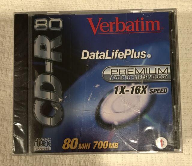 Verbatim 700MB 80 Min CD R Disc With Case 1X 16X Speed AZO Blue