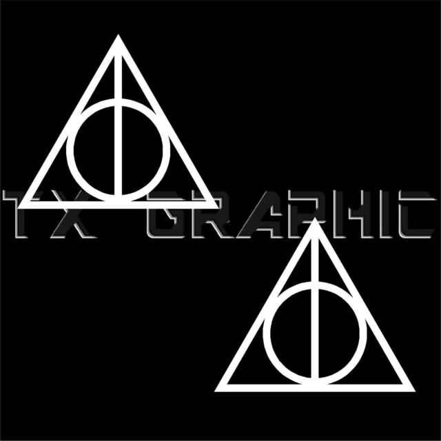 Harry Potter Decal Deathly Hallows Symbol Logo Vinyl Window Sticker, 1 set of 2