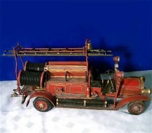 Antique-Detailed-Tin-Ladder-Truck-Fire-Engine