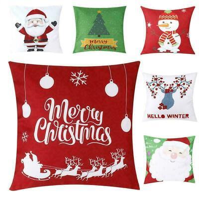 Christmas Pillow Case Santa Polyester Sofa Car Throw Cushion Cover Home Decor