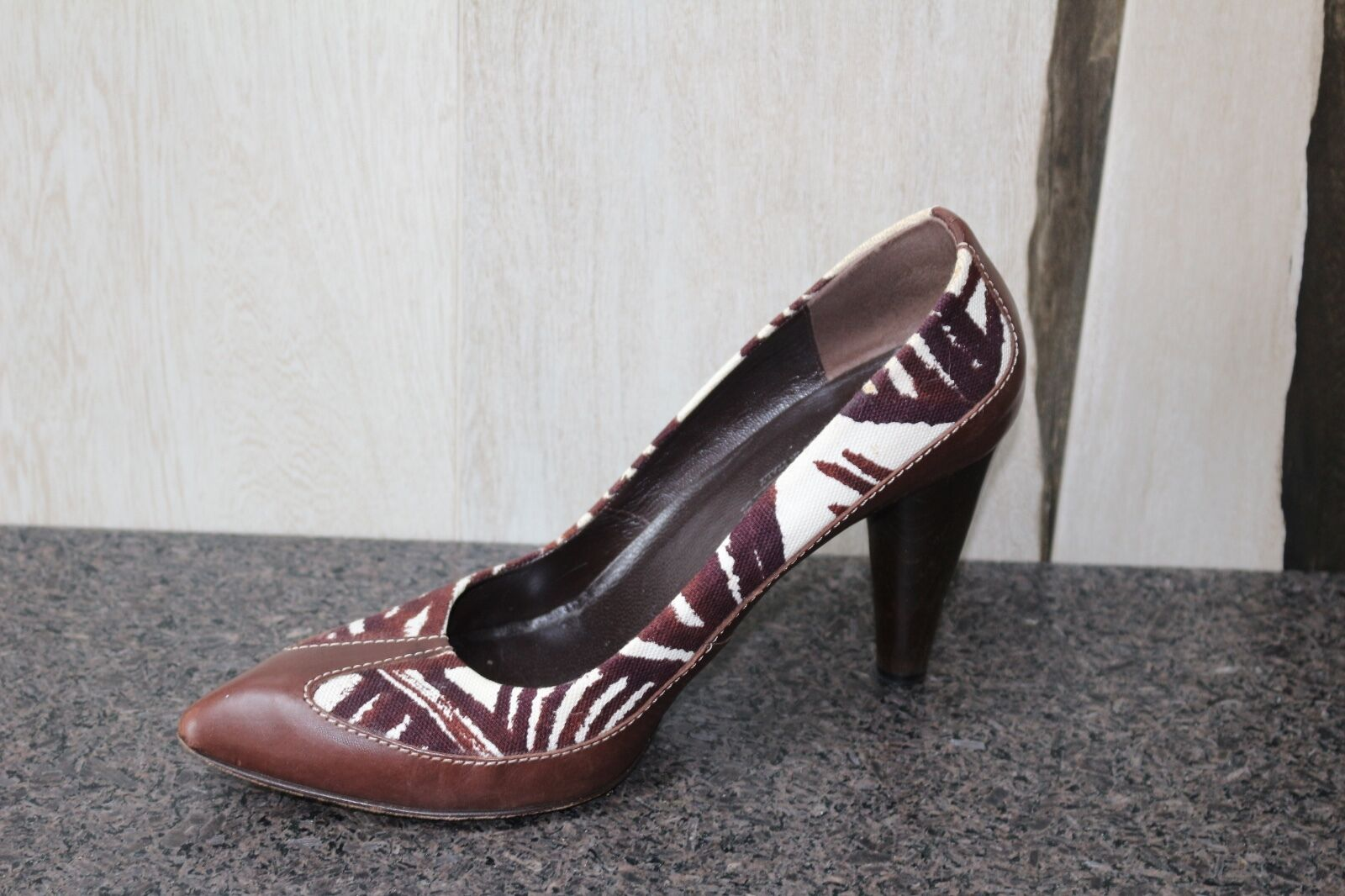 Worn with love: Max Mara Safari Print Canvas/ Leder Classic Pumps Schuhes 40