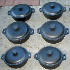 2-Cup-Mini-Dutch-Oven-Cast-Iron-Old-Mountain-Pre-Seasoned-w-Dome-Lid-Set-of-6