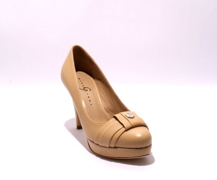 Gibellieri 2680c Beige Leather Platform Heel Pumps 37   US 7