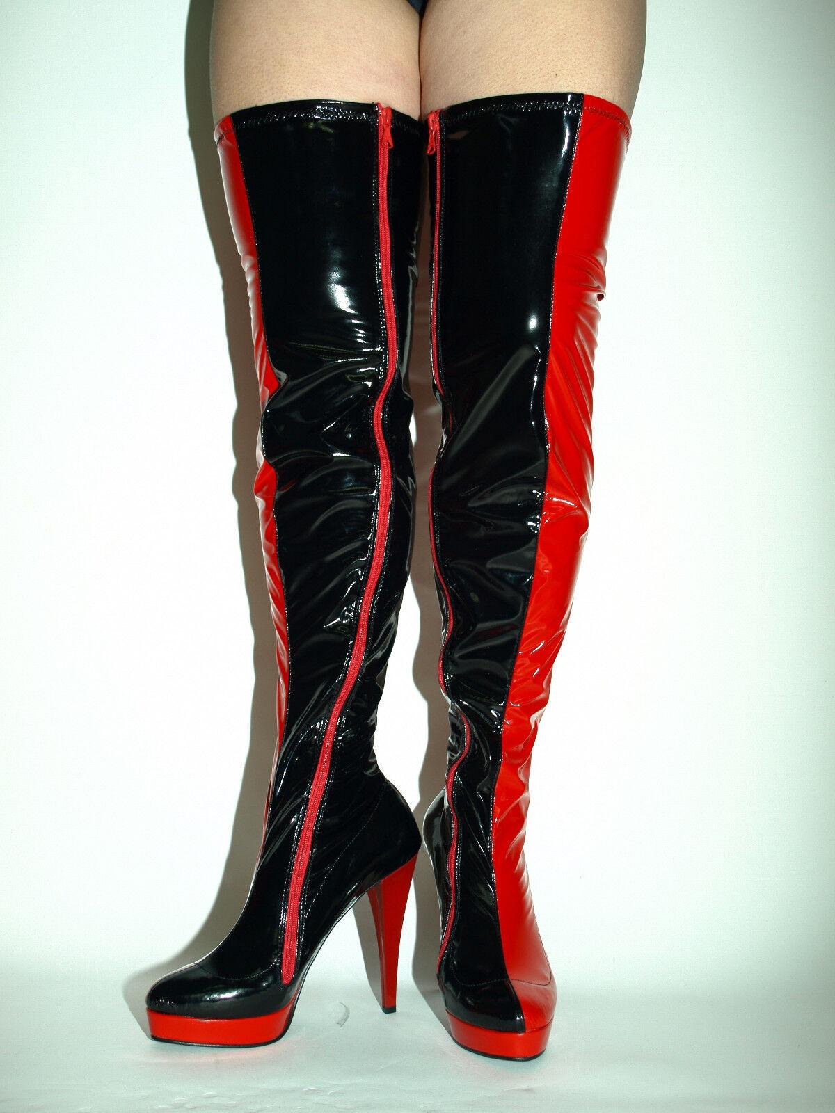 schwarz-rot patent elastick leather leather leather Stiefel Größe 5-16 HEELS-5,5 - PRODUCER POLAND a1fcb1