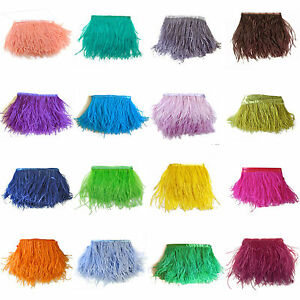 1-5-10Yards-Ostrich-Feather-Quality-Satin-Ribbon-Trimming-Fringe-10-15cm-4-6-034