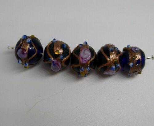 5pc Lampwork Glass Blue 12x10mm Rondelle Beads w Copper Glitter /& Flower Design
