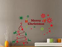 Hand Carving Merry Christmas tree Gift Xmas Vinyl Wall Stickers Wall UK  RUI26