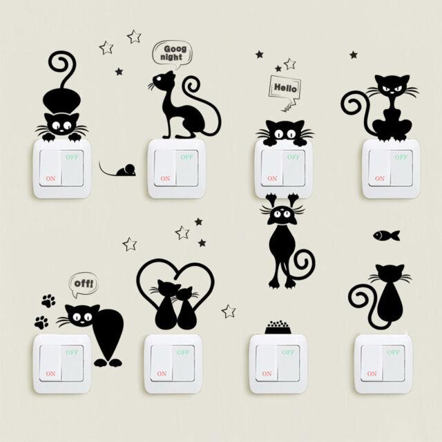 cute cat light switch wall stickers home decor cartoon animal wall
