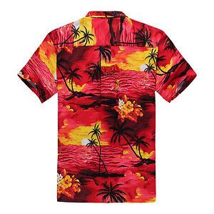 5002fc823 Plus Size 4X 5X 6X Men Hawaiian Shirt Luau Aloha Cruise Sunset Red ...