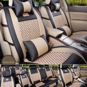 Car-SUV-100-Mesh-amp-PU-Leather-Seat-Cover-5-Seats-Front-Rear-Cushions-US-Stock-Set
