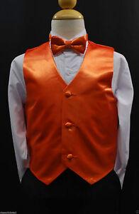 bfcb19344a10 Children Teen Boys ORANGE VEST + BOW TIE for Wedding Formal Suits ...