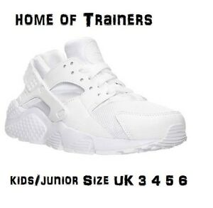 Image is loading Nike-Air-Huarache-GS-Triple-White-Junior-Kids-