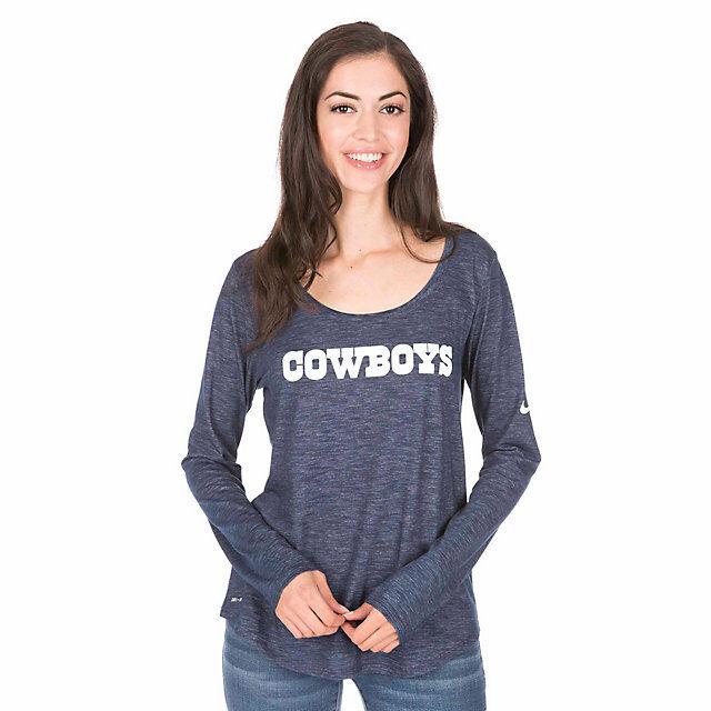 c382b1d12 Womens Dri Fit Dallas Cowboys Nike Long Sleeve T Shirt Size M Medium Blue