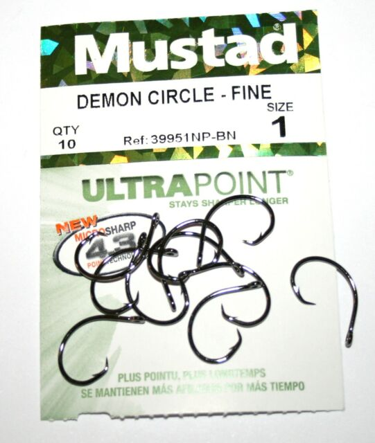 Mustad 39951 NP-BN Demon Circle - Fine - Hooks - 13 Sizes available -