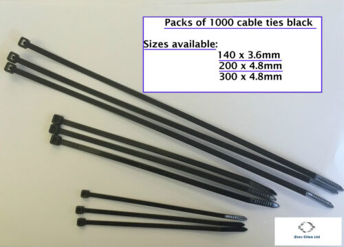PACK OF 1000 CABLE TIES ** CHOOSE YOUR SIZE**  140x3.6mm 300 x 4.8mm 200x4.8mm