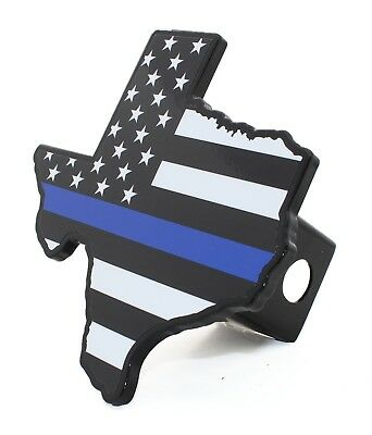 Police Thin Blue Line METAL emblem on Chrome METAL Hitch Cover AMG