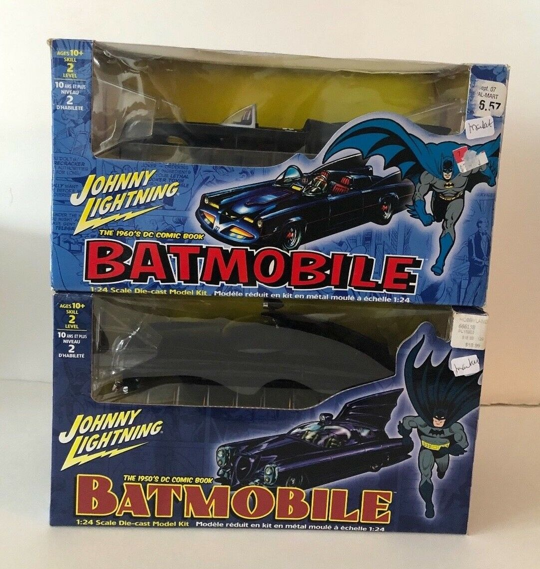 2 Johnny Lightning DC Comics 60's & 50's Style l Batmobile modello Die Cast 1 24