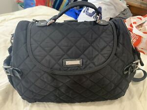 Storksak-Black-Quilted-Baby-Change-Backpack-Bag-W-Bottle-Bag-And-Change-Pad