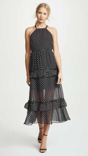 Endless Rose Polka Dot Tiered Maxi Dress Black Ref