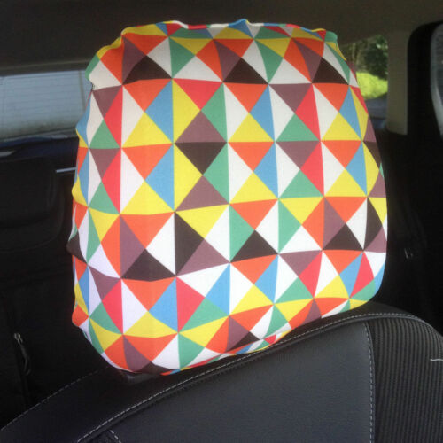 Colourful Triangles Design Car Seat Head Rest Covers Pack Of Two Accessory Gift