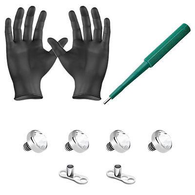 Dermal Anchor Kit Clear 4mm Top Gems Dermal Bases Puncher and Gloves