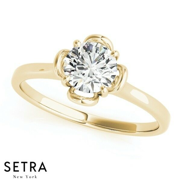 0.65ct Certified Lab Grown Diamond Flower Style 14k Fine gold Solitaire Ring