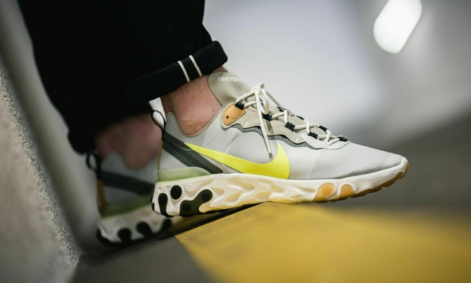 NIB Nike Reagisce Element 55  bianca grigio Volta Mens Scarpe scarpe da ginnastica Trainers Sz 15  negozio online