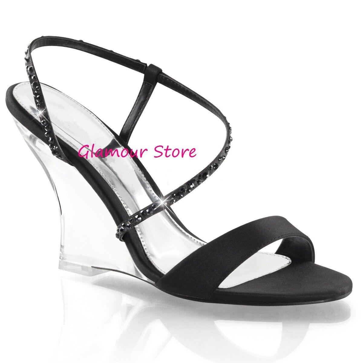 Sexy SANDALI ZEPPA tacco 10 dal 35 scarpe al NERO 42 NERO al TRASPARENTE   3d5941