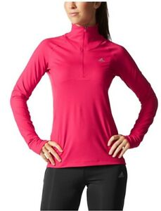 adidas-Women-039-s-Long-Sleeve-1-2-Zip-Slim-Fit-PullOver-Pink-Size-Large-E-6