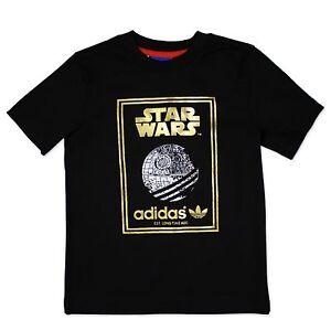 Adidas-Originals-Star-Wars-ninos-T-Shirt-estrella-muerte-te-negro-oro-74-176