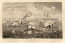 Original Civil War Engraving BATTLE OF CHARLESTON 1863 Ironclads Monitors Keokuk