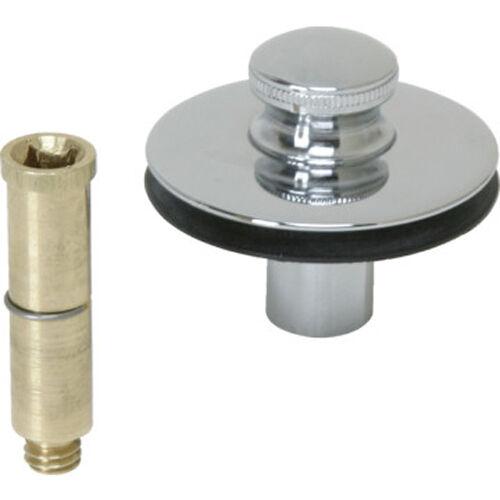 to 5//16 in Pin Adapter in Chrome Plated Push Pull Bathtub Stopper with 3//8 in