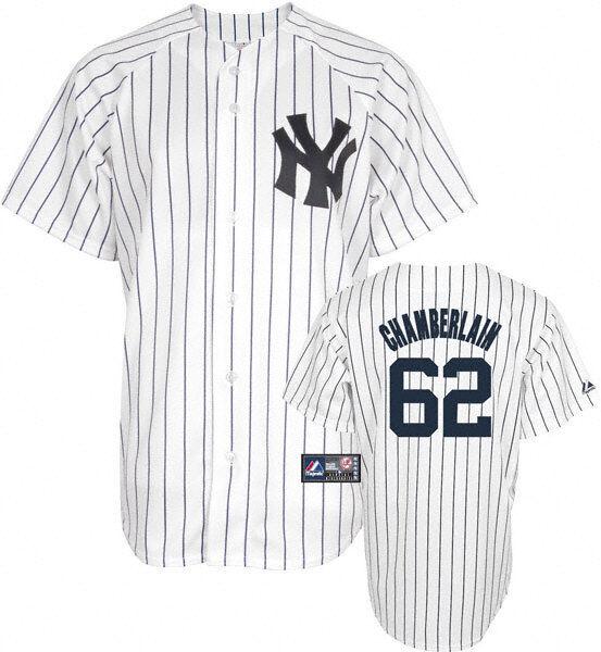 Nuevo con etiquetas  majestuoso New York Yankees Joba Chamberlain Béisbol Jersey Camisa  Hombres XL Cosido