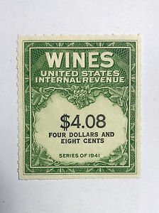 US-Revenues-Stamps-Collection-Scott-RE-201-4-08-WINES-Unused-MNH-NG-Cat-50