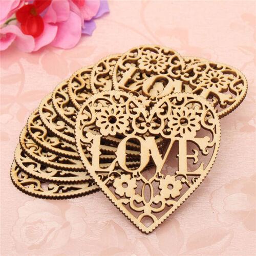 10X Laser Cut Decorative Heart Wedding Wooden Shapes Craft Embellishments HOT.