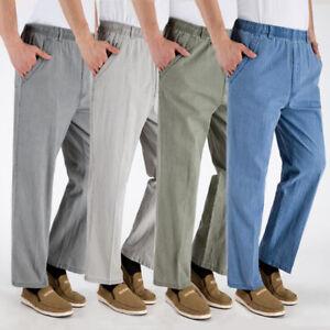 ca88512d Details about Mens Linen Pants Trousers Loose Beach Casual Elastic waist  Slacks long Trousers